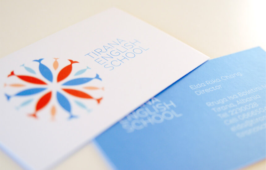 Modern blue and red business card design for pre school in Tirana, Albania.