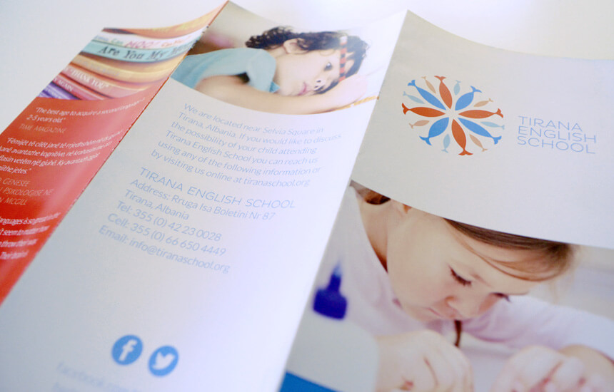 Brochure design with logo for Tirana based pre school.