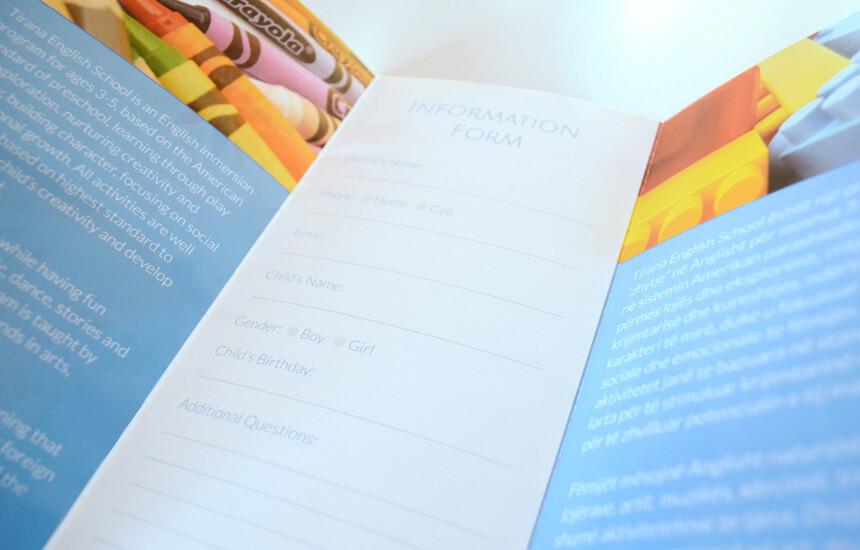 Inside of a brochure design for pre school.