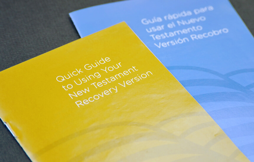 Gold and blue quick guide to using the New Testament Recovery Version.