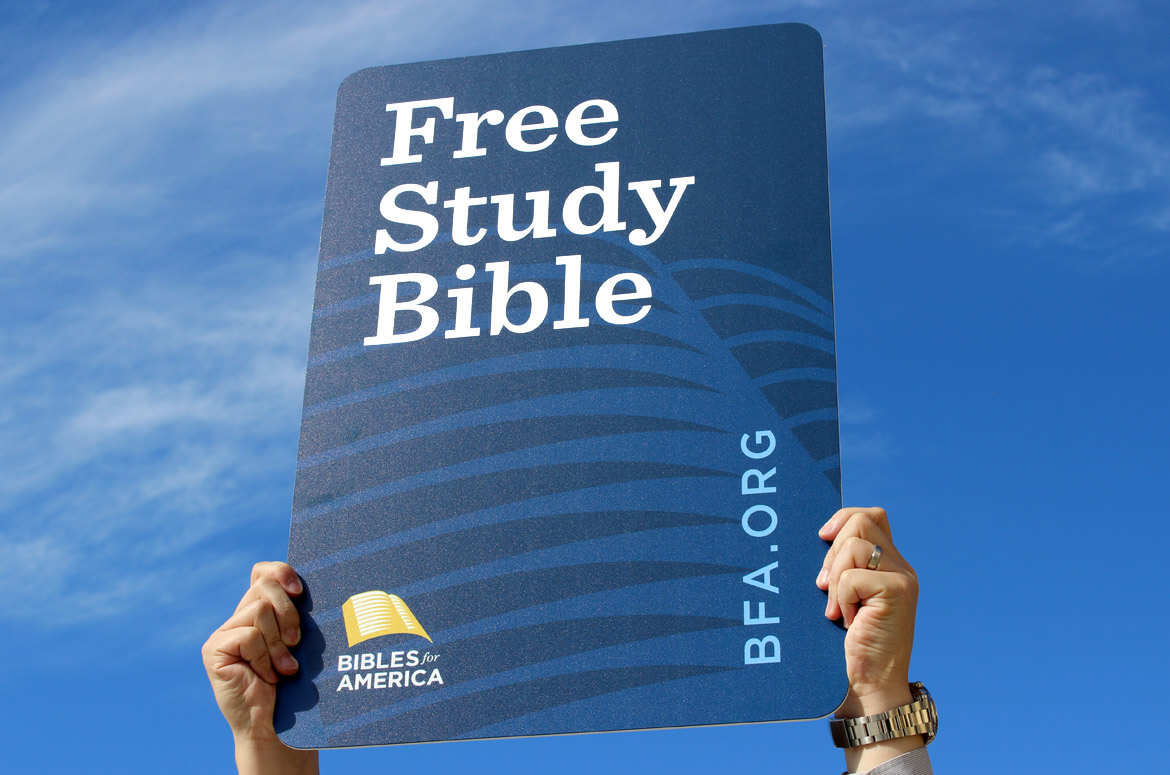 Banner for Bibles for America's free Bible offer.