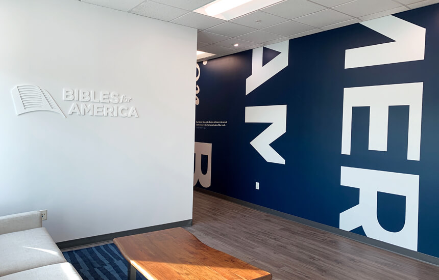 Branded interior experience design and signage for Bibles for America's office in Irvine, CA.