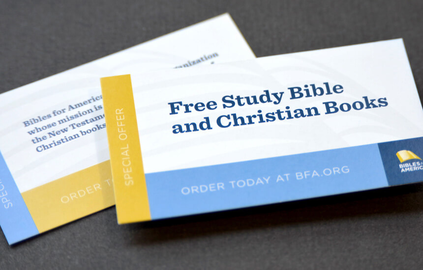 Wallet size promotional card offering a free study Bible.