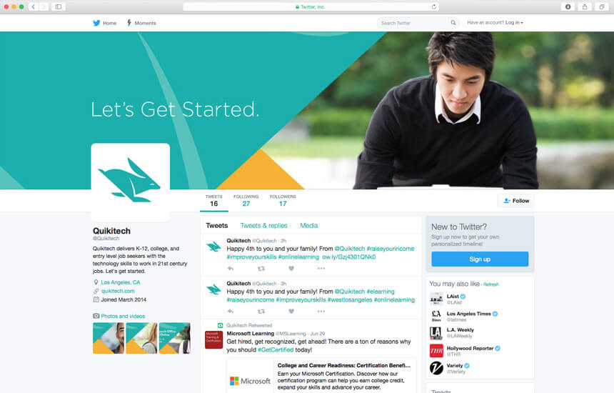 Branded Twitter page for teach company with young student studying on a laptop.