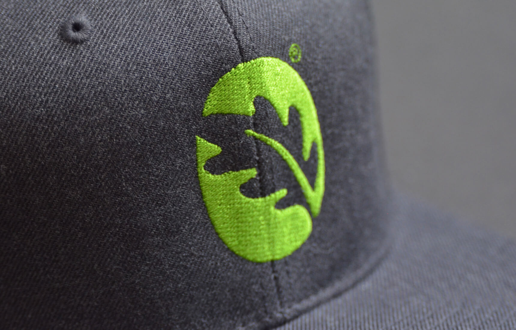 Detail of embroidered cap with logo for camp.
