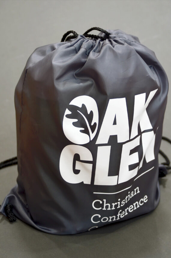 Branded drawstring backpack.