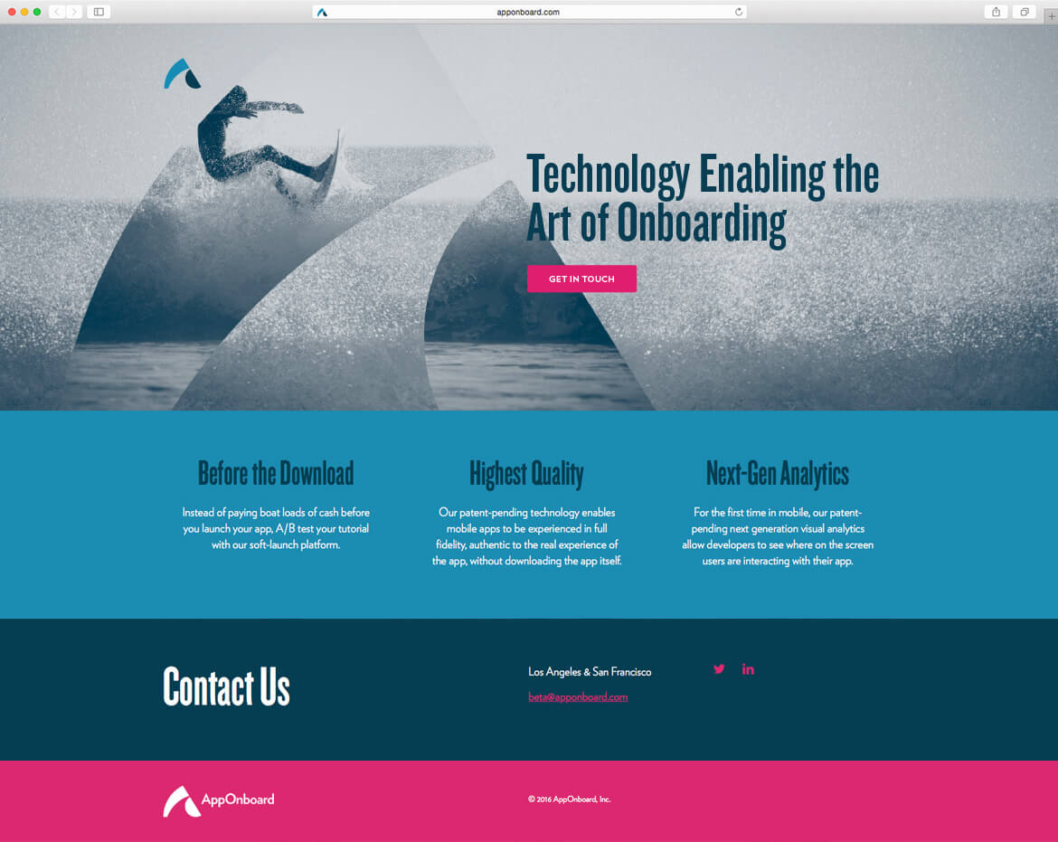 Website design for tech company with surfer riding on wave.
