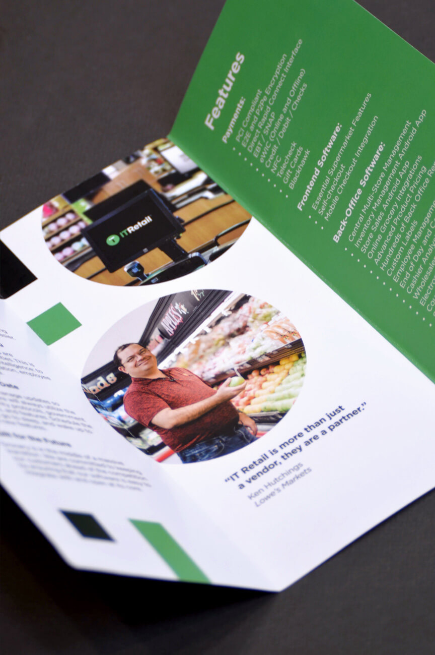 Green and white six panel brochure design.