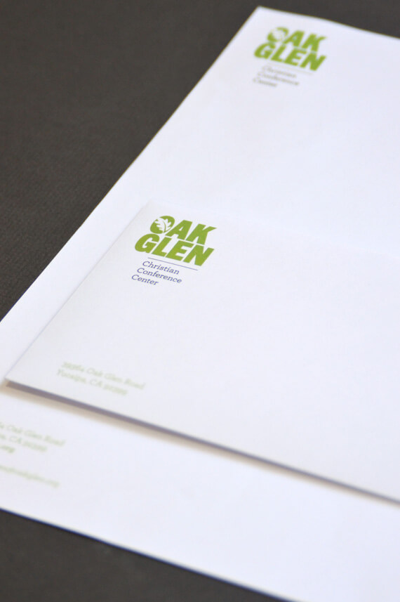 Modern stationery set design with envelope and letterhead.