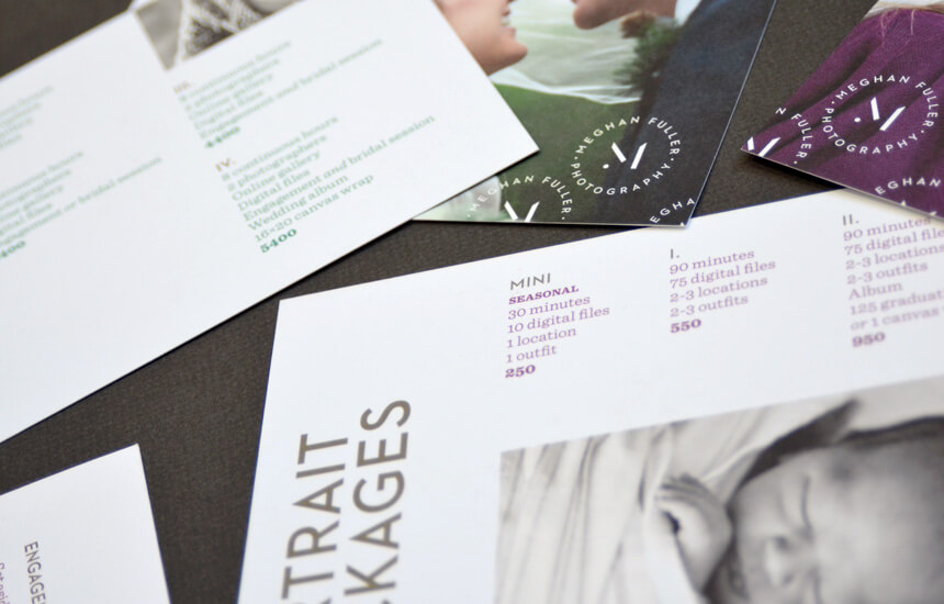 Price cards for Texas based wedding photographer.