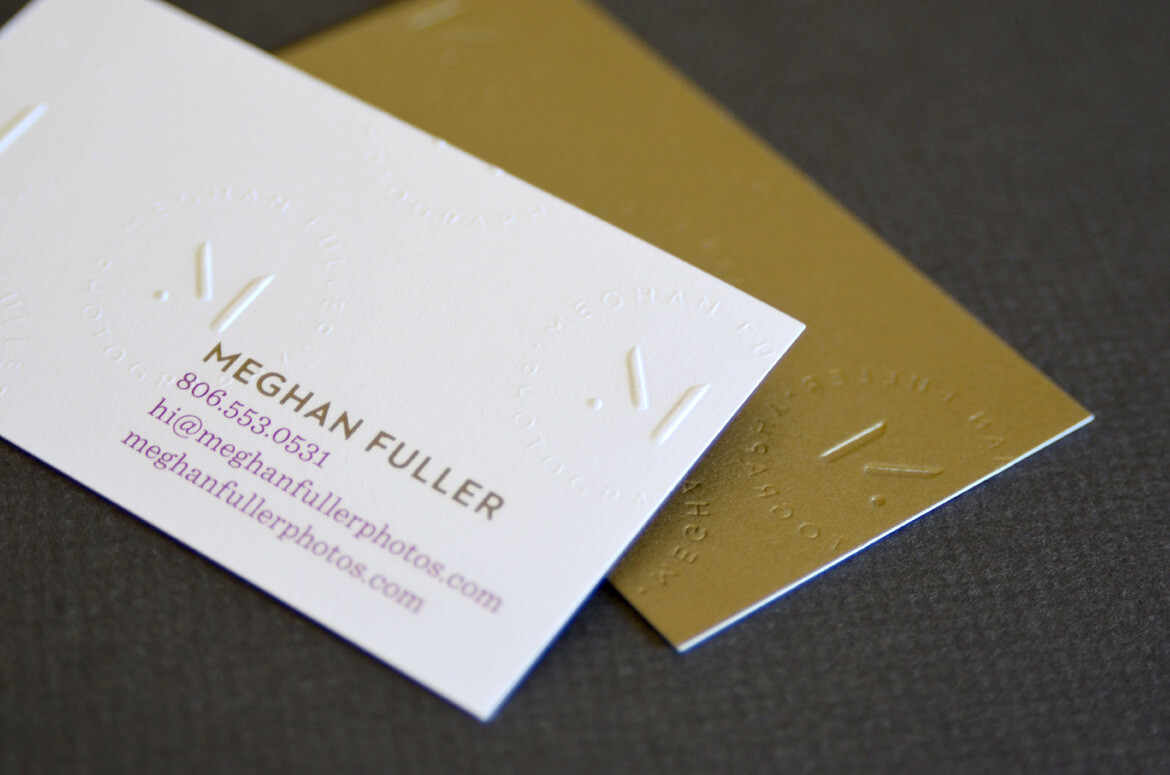 Gold and plum business card with blind embossing for Texas based photographer.