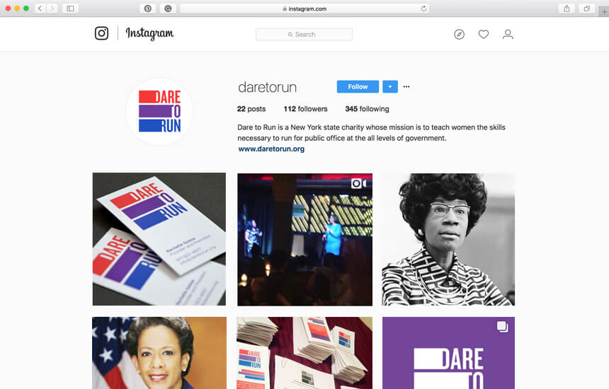 Dare to run's branded Instagram page.