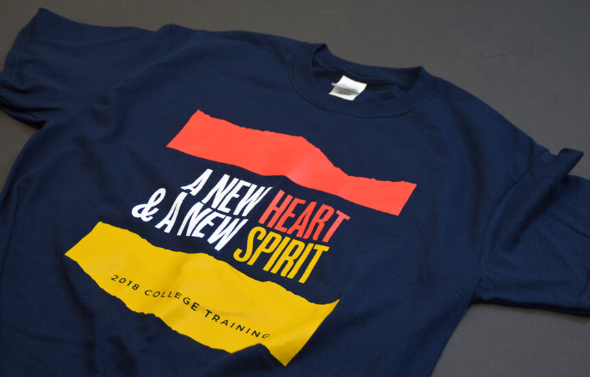 T-shirt design showing with pink, gold, and blue colors for a college training.