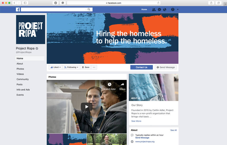 Branded Facebook page for nonprofit.