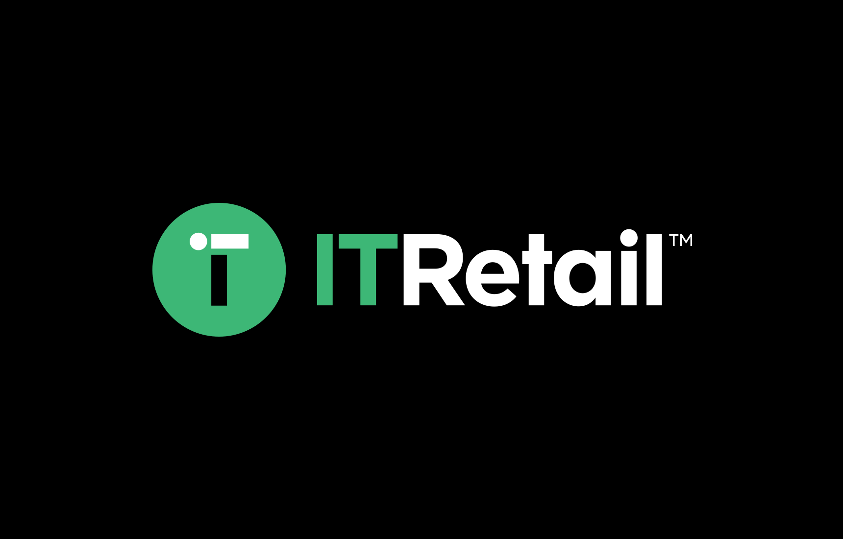 IT Retail logo in reverse on black background.