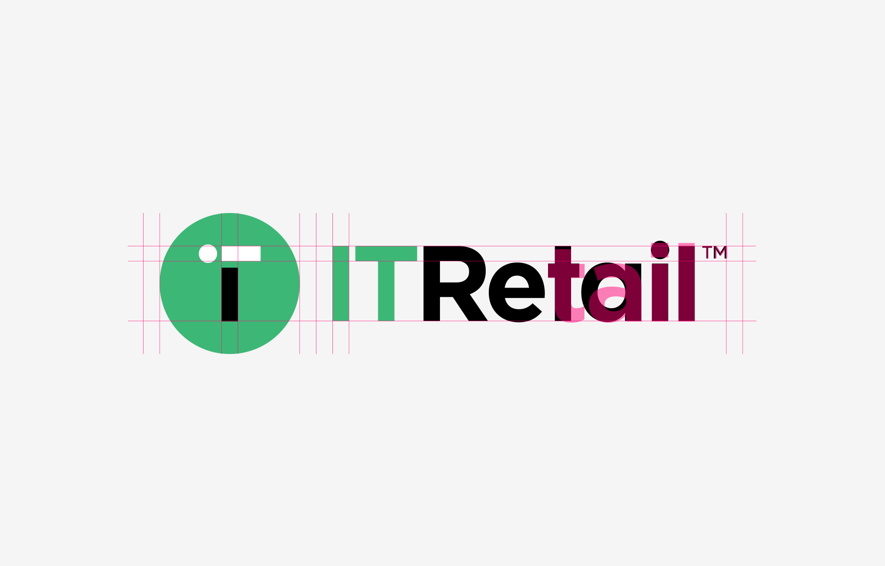 The grid used to design IT Retail's logo.