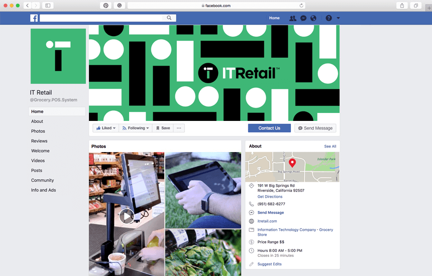 Branded Facebook page for IT Retail.