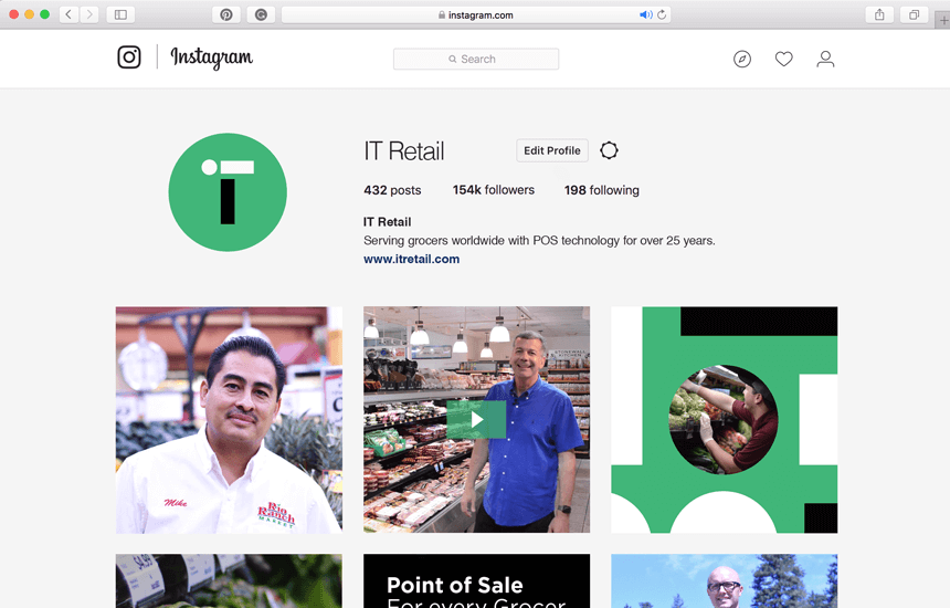 Branded Instagram page for IT Retail.