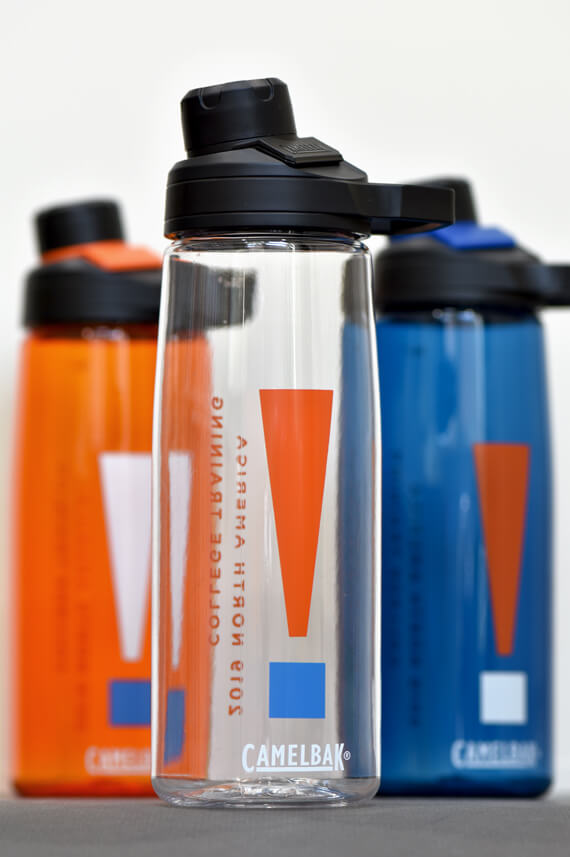 Screen printed water bottle designed for college age conference.
